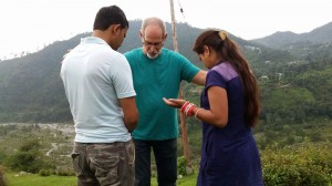 Gregg praying over Ashish-Kalpana - palampur