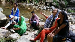 worship at kullu mtn area waterfall - Copy